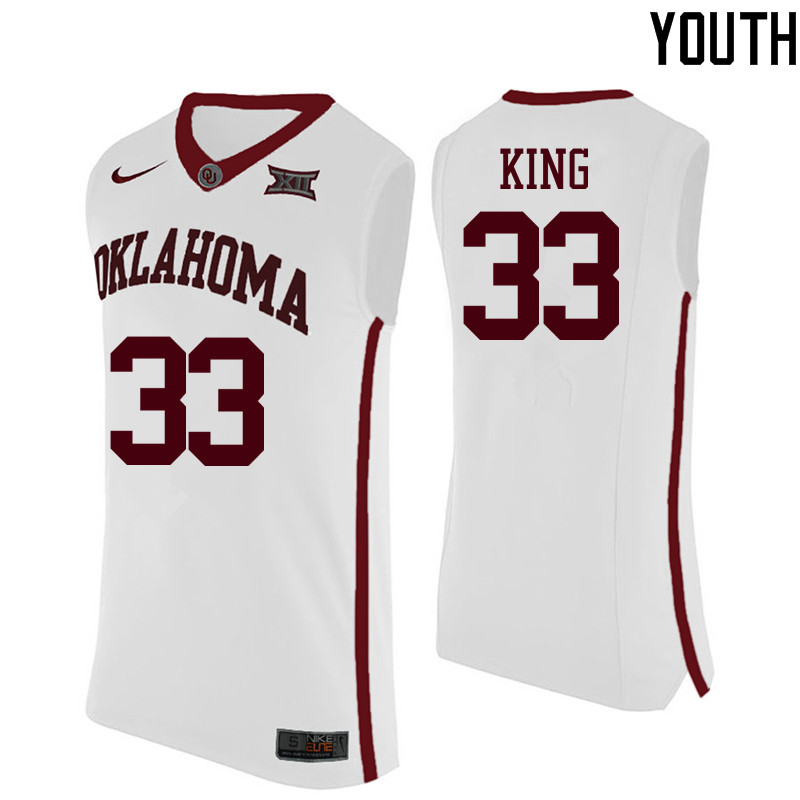 Youth Oklahoma Sooners #33 Stacey King College Basketball Jerseys-White