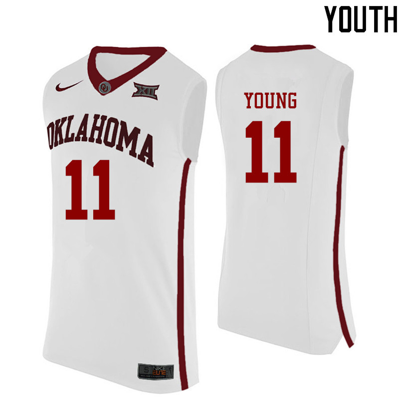 Youth Oklahoma Sooners #11 Trae Young College Basketball Jerseys-White