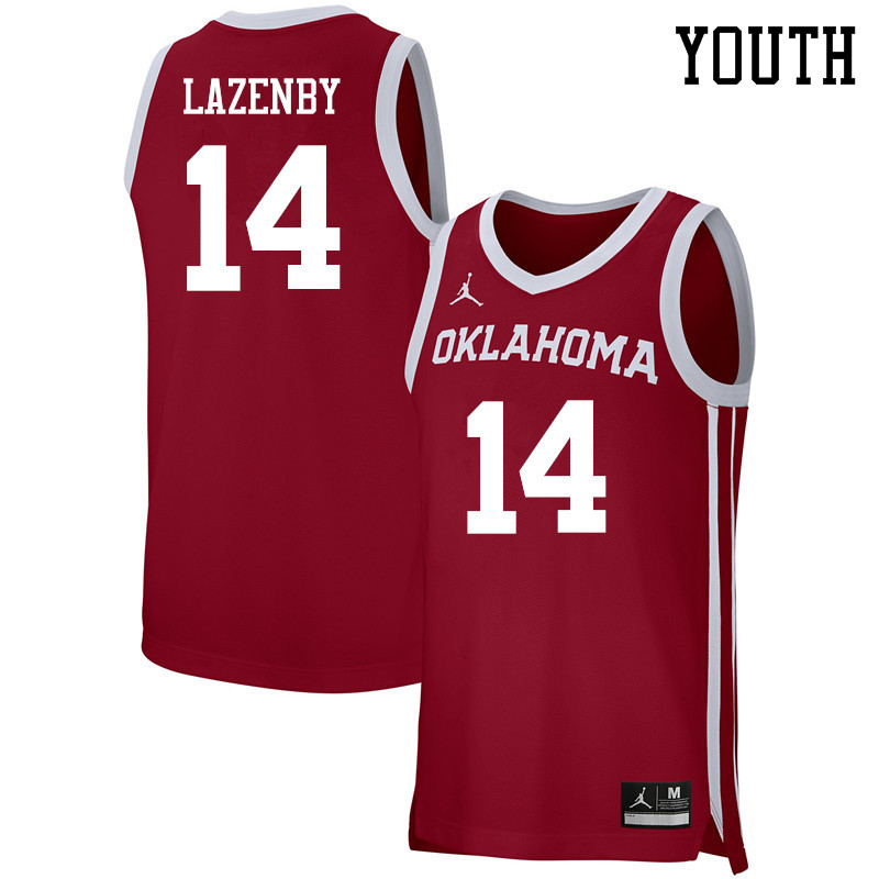 Youth Jordan Brand #14 Ty Lazenby Oklahoma Sooners Basketball Jerseys-Crimson