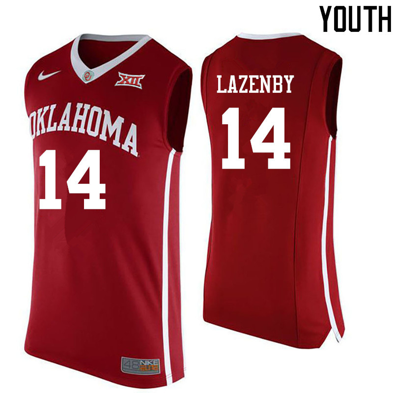 Youth Oklahoma Sooners #14 Ty Lazenby College Basketball Jerseys-Red